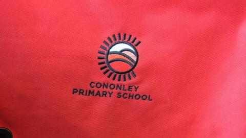 School book bag with logo